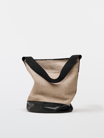 حقيبة للكتف من جلد النابا والكتان - إصدار محدود