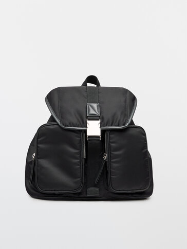 Black backpack with leather details