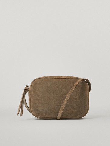 Split suede crossbody bag