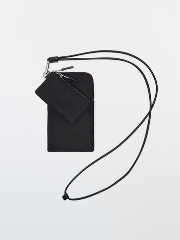 Black mobile phone case with leather strap