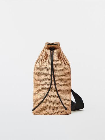 Raffia crossbody bag with leather trims