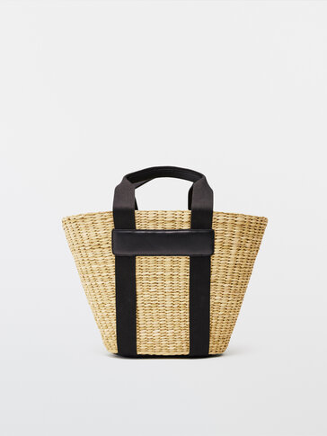 Basket bag with leather details