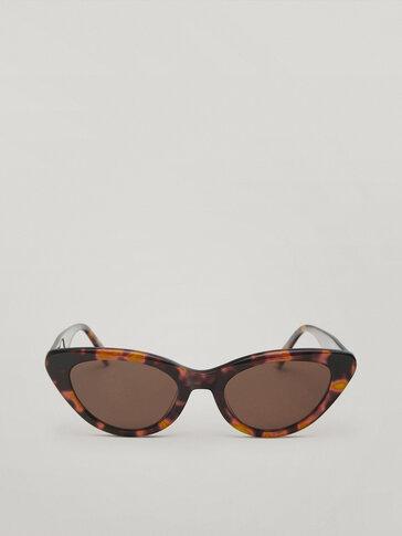 Tortoiseshell resin cateye sunglasses