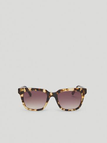 Square tiger print resin sunglasses