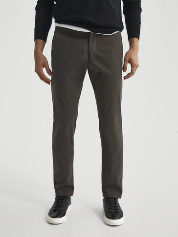 Katoenen chino broek slim fit