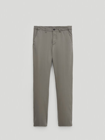 Regular-fit bukse type chinos i cotton