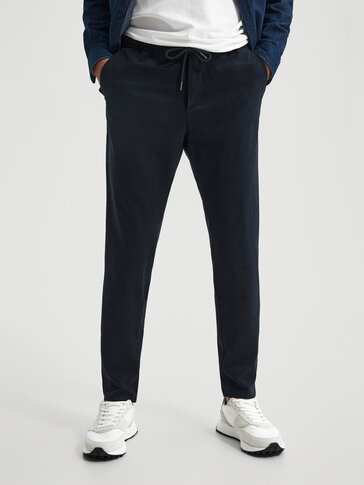 Katoenen chino broek jogging fit