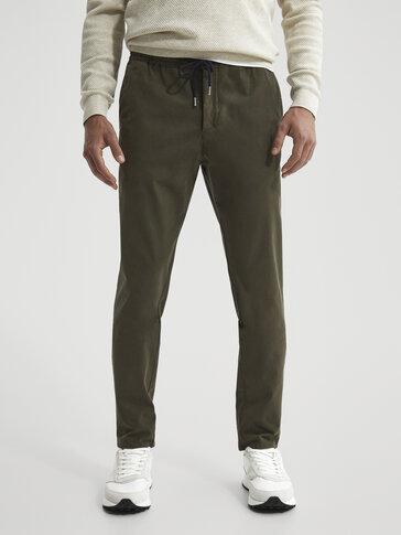 Βαμβακερό παντελόνι chino jogging fit