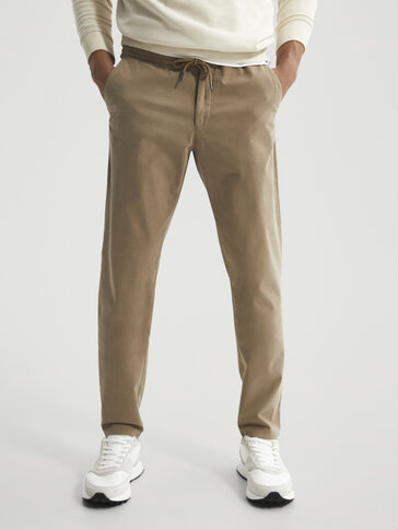 Jogging fit cotton chino trousers