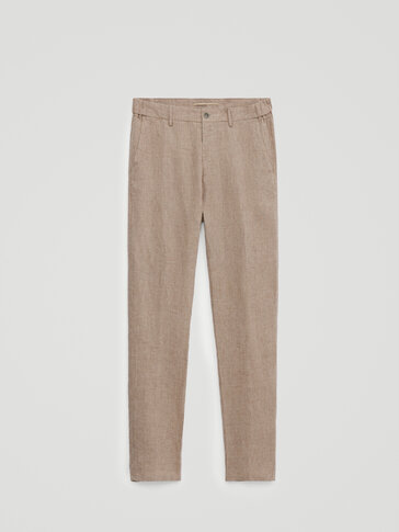 Houndstooth linen jogging fit trousers