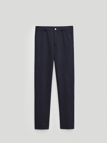 Slim fit linen/cotton chino trousers