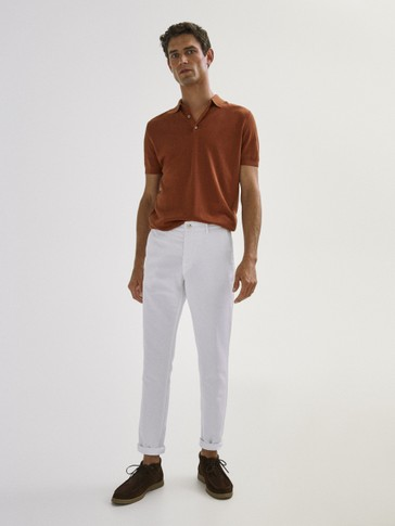 Slim fit cotton linen chino trousers