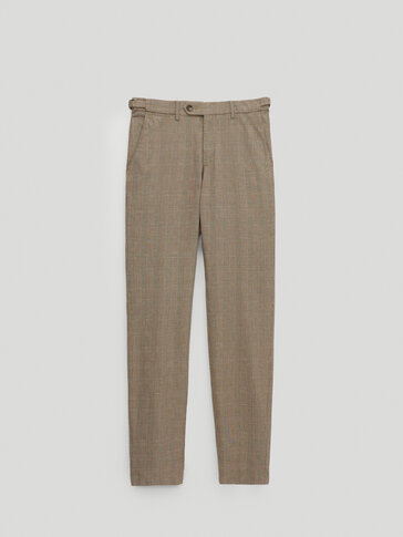 Slim fit linen and cotton check chinos