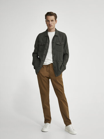 Technical poplin jogging-fit trousers