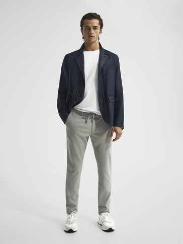Jogging fit dyed textured trousers