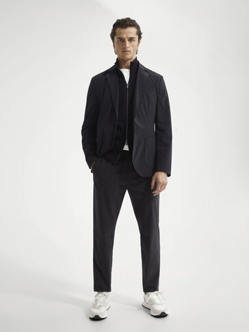 Slim-fit pinstriped chinos