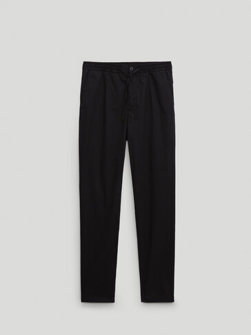 Slim fit matte black technical poplin trousers Limited Edition