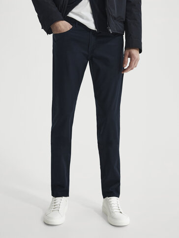 Slim fit denim-effect trousers