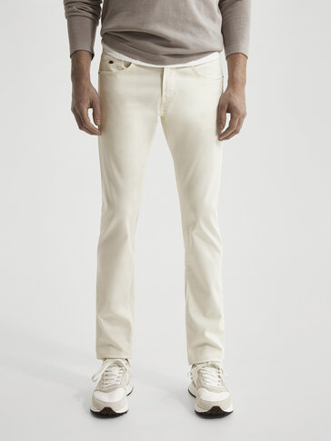 Slim-fit twill denim-effect trousers