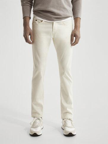 Slim-fit tvill bukse i jeansstil