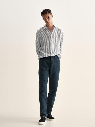 Jogging-fit denim-effect trousers