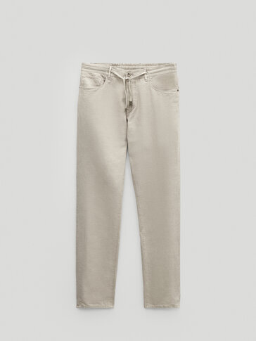 Jogging-fit denim-effect trousers
