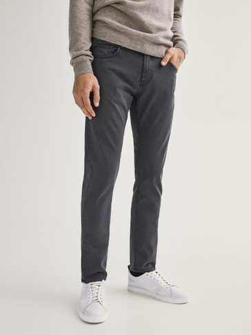 Katoenen broek met denim-effect slim fit