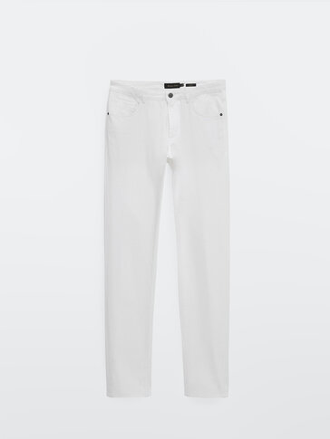 Slim-fit cotton denim-effect trousers