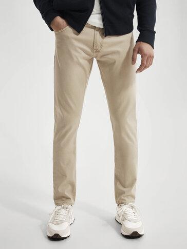 Slim-fit cotton denim-effect trousers