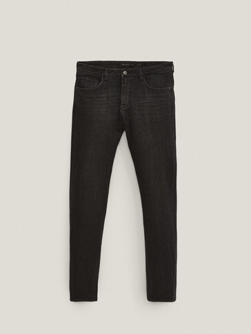 Black slim-fit stonewashed jeans