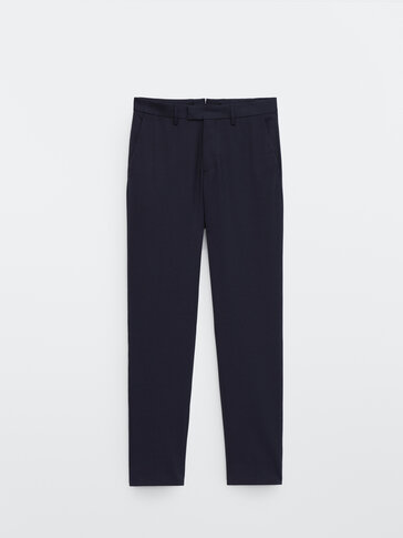 Slim fit 100% wool trousers
