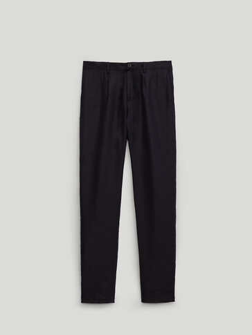100% linen casual fit trousers - Limited Edition