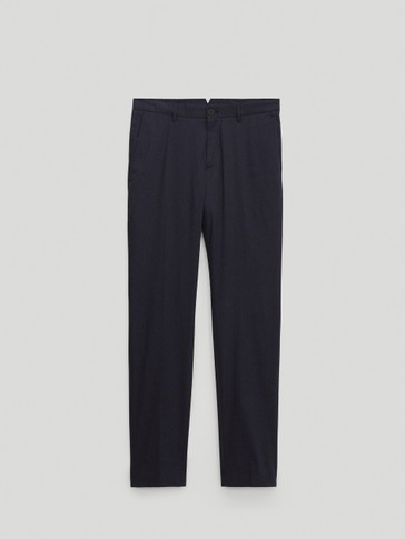 Casual fit cotton technical trousers