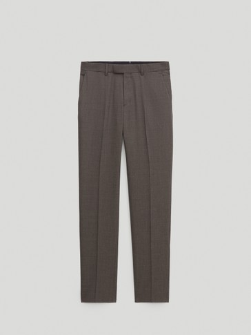 Washable 100% super 120's wool city slim fit trousers