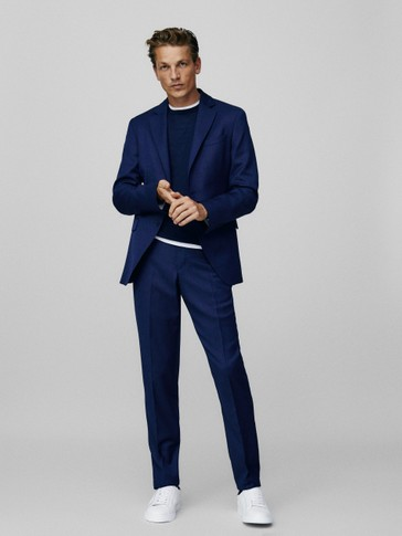 Slim-fit 100% wool bird's-eye trousers