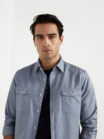 Regular fit double pocket cotton shirt