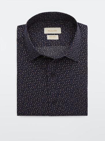 قميص مطبعة من القطن 100% قصة ضيقة