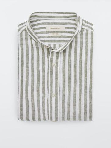 Pruhovaná slim fit košeľa zo 100% ľanu