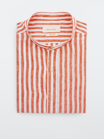 100% linnen overhemd met strepen slim fit