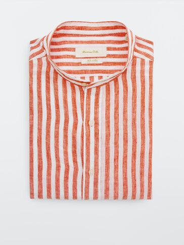 Camisa rayas 100% lino slim fit