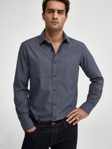 Slim-fit skjorte med rutete mønster