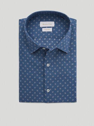 Slim fit print 100% cotton shirt