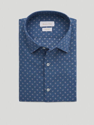 Slim fit print 100% cotton shirt