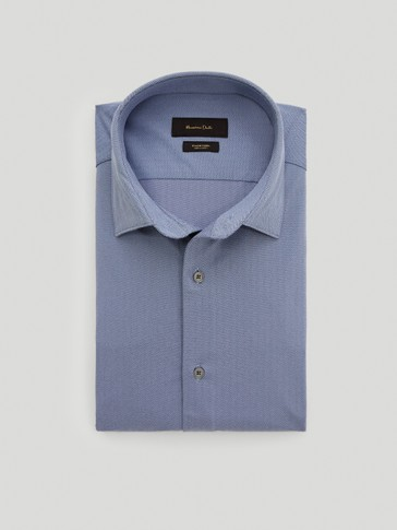 Slim-fit herringbone shirt