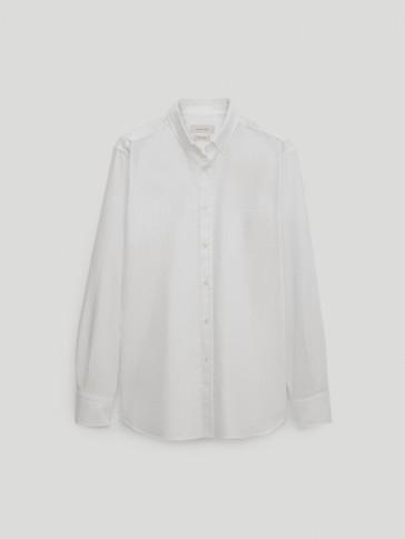 قميص أوكسفورد من القطن 100% قصة عادية