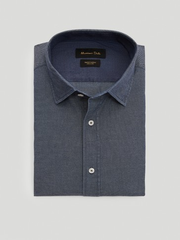 100% cotton slim fit shirt with elbow patches