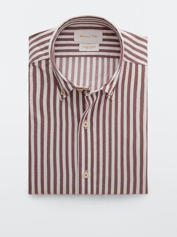 Prugasta pamučna košulja kroja slim