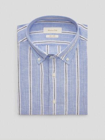 قميص مقلم من الكتان 100% قصة ضيقة
