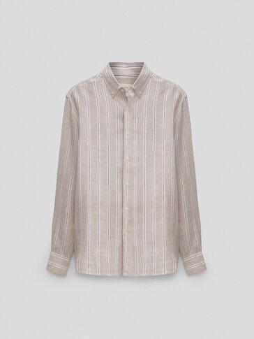 Рубашка облегающего кроя изо льна в полоску