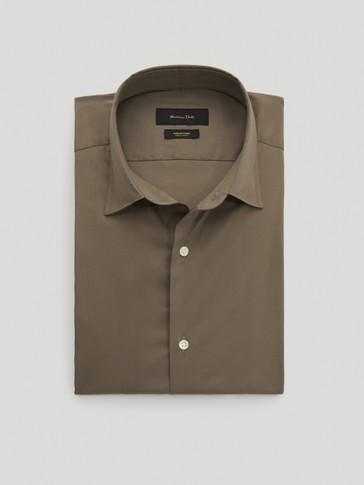 قميص مرن من القطن قصة ضيقة